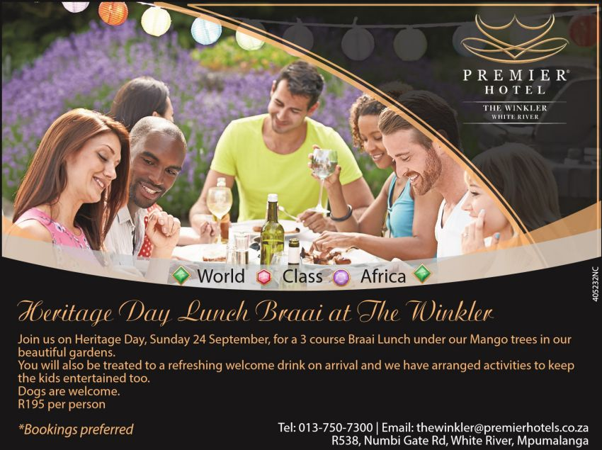 Heritage Day Lunch Braai @ The Premier Hotel The Winkler @ The Premier Hotel The Winkler  | White River | Mpumalanga | South Africa