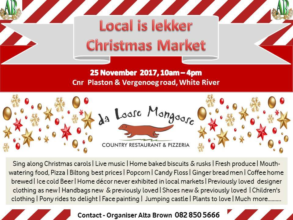Come experience this beautiful setting with live music and Christmas carols in the afternoon. Contact Alta Brown for more information – 082 850 5666