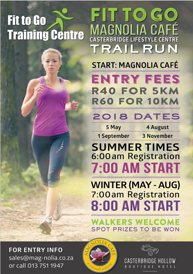 Fit to Go, Magnolia Café, Casterbridge Trail Run @ Casterbridge Lifestyle Centre
