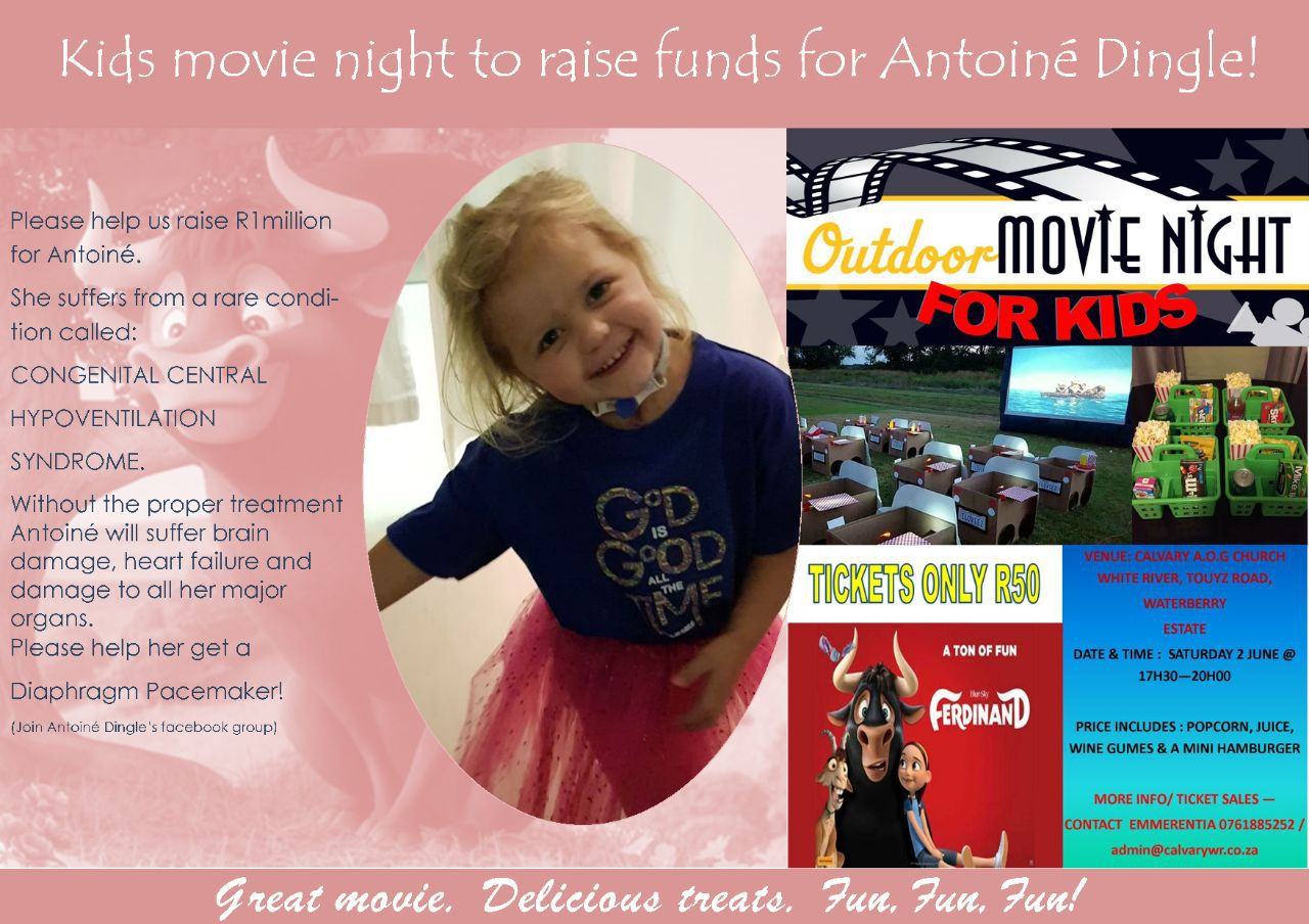 Kids movie night fundraiser for Antoiné Dingle @ Calvary Church, Waterberry Estate