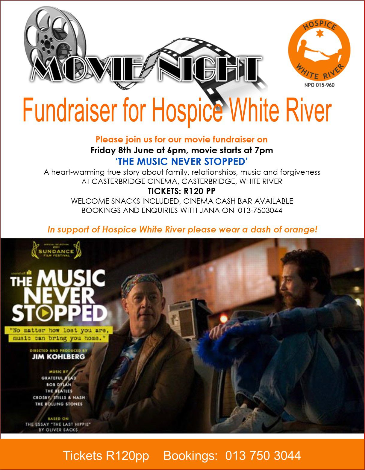 Hospice Movie Fundraiser - The Music Never Stopped @ Casterbridge Cinema